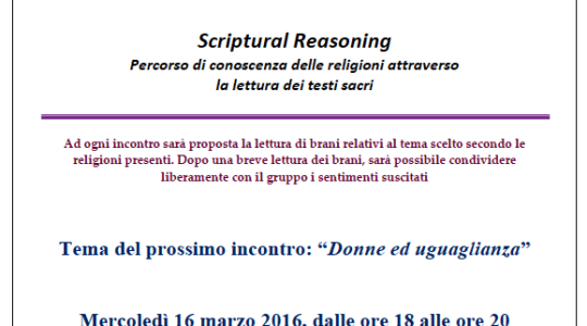 "Scriptural Reasoning ""DONNE ED UGUAGLIANZA"""
