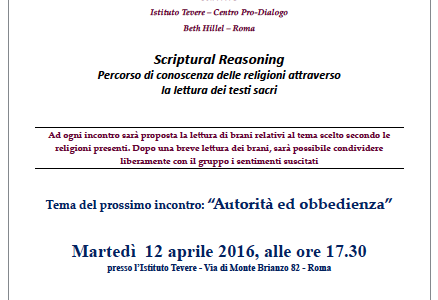 "Scriptural Reasoning ""AUTORITÀ ED OBBEDIENZA"""