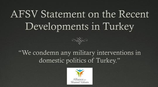 Comunicato di AFSV (Alliance for Shared Values) portavoce del movimento Hizmet (Gulen), sul recente intervento militare in Turchia