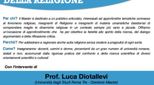 Presentazione del Master di II livello in SCIENZA DELLA CULTURA E DELLA RELIGIONE