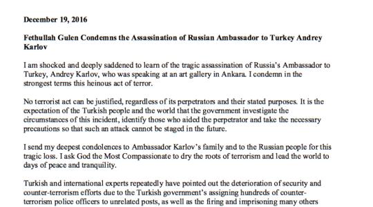 Fethullah Gulen condanna l'assassinio dell'ambasciatore russo ad Ankara