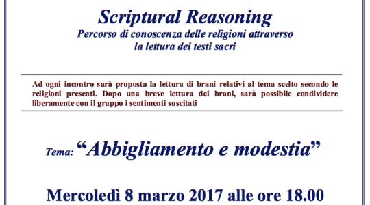 "Scriptural Reasoning: ""Abbigliamento e modestia"""